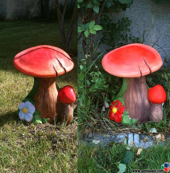 Enanitos de jardin setas etc pintados a mano precios for Arbustos enanos para jardin