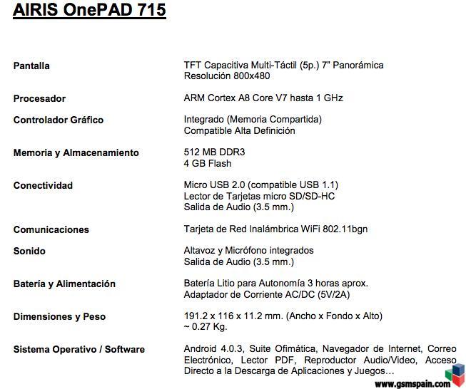 [VENDO] Airis OnePad 715 Precintado