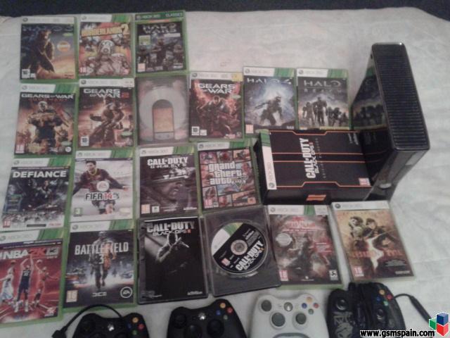 [VENDO] Vendo Xbox 360 slim 250 gb  con 18 juegos y 4 mandos