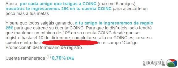 [CHOLLO] Invitaciones COINC 25€ ingreso directo en cuenta