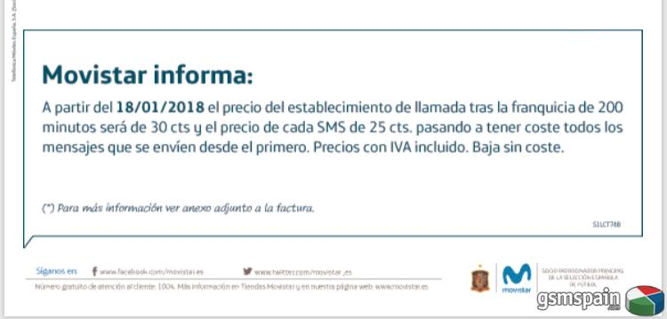 [HILO OFICIAL] Subida Tarifas Móviles Movistar Enero 2018