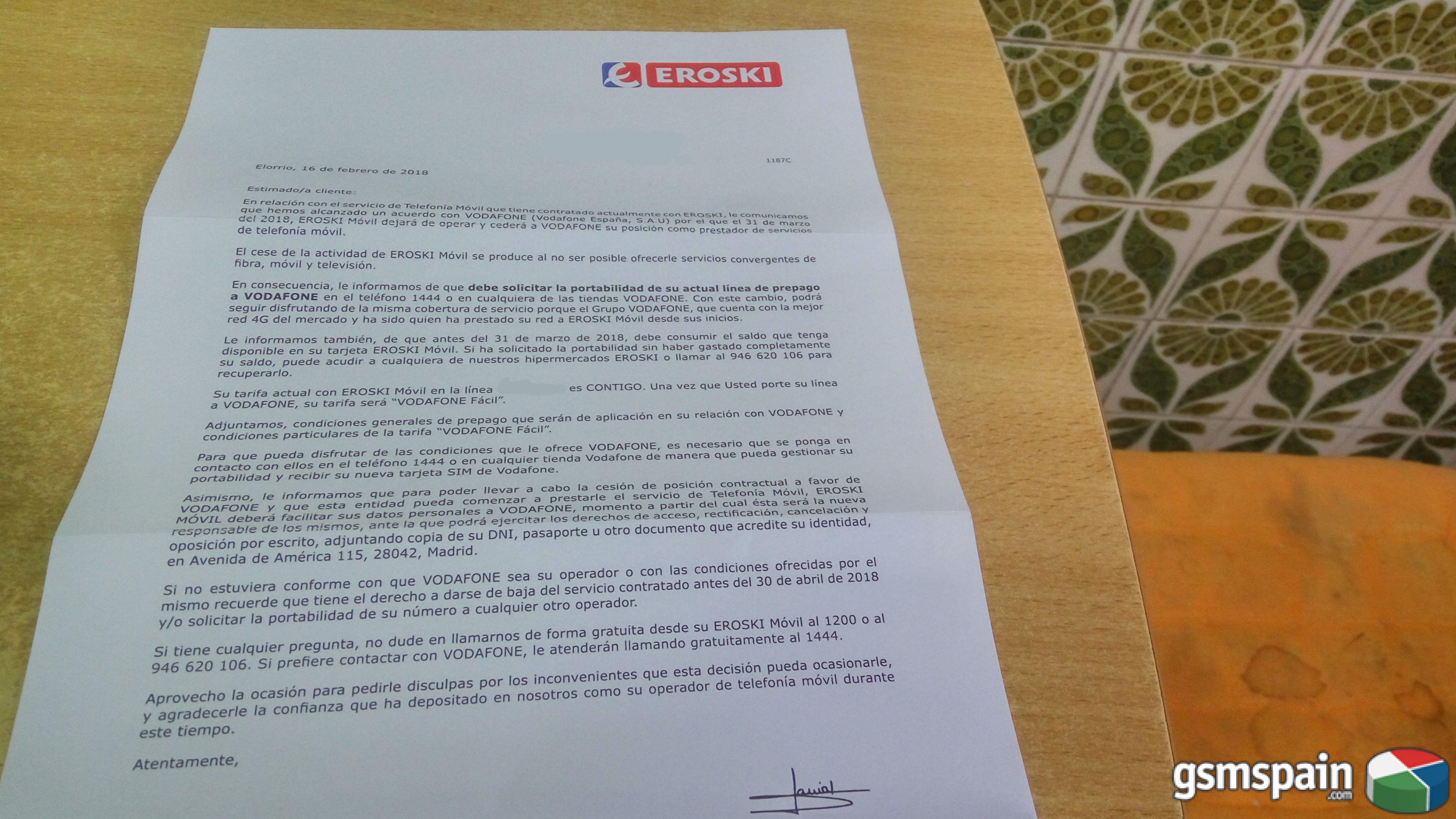 Eroski traspasa su cartera de clientes a Vodafone