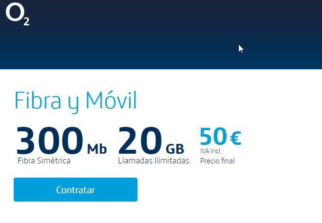 O2 aumenta el caudal a 300mbps y el precio a 50 Euros con 20GB de móvil
