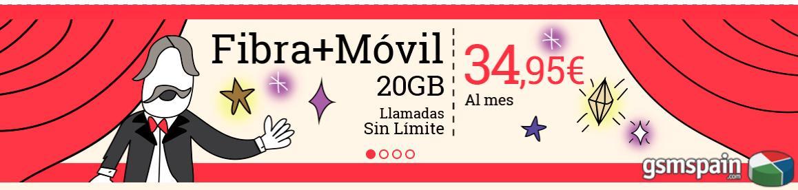 Fibra 50MB + 20GB e ilimitadas en el móvil: 34,95€ para todos.